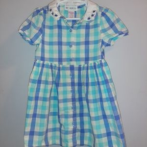Vintage Gymboree Blue Plaid Cotton Shirt Dress 2T